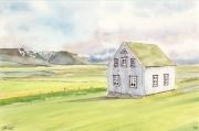 tableau paysages maison islande volcan paysage : 2020-24 Maison Islandaise