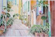 tableau architecture provence cote d azur villefranche village : 2009-04 Ruelle de Villefranche sur mer
