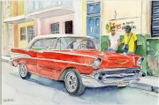 tableau scene de genre cuba chevrolet voiture la havane : 2019-07 Une belle américaine à la Havane