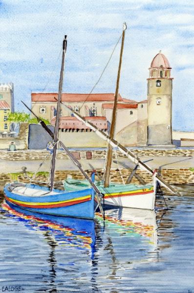 TABLEAU PEINTURE Port Collioure Côte Vermeille Catalogne Marine Aquarelle  - 2021-13 Port de Collioure