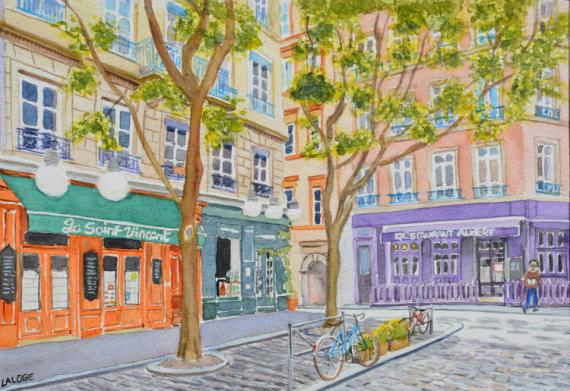 TABLEAU PEINTURE Lyon Place Fernand Rey Place Croix Rousse  - 2021-14 Lyon Place Fernand Rey au printemps