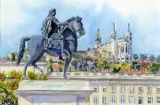 tableau villes lyon fourviere place bellecour louis xiv : 2021-08 Lyon Louis XIV regardant Fourvière