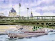 tableau villes paris seine pont peniche : 2020-37 Paris péniche sous un pont