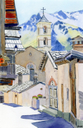tableau architecture alpes queyras saint veran eglise : 2020-35 Saint Veran Queyras