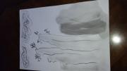 tableau paysages colline zen pierre encre chimoise : La colline zen