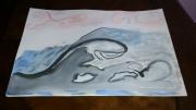 tableau marine vague mer zen bleu : Vague sur mer