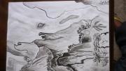 tableau paysages moutains paysage riviere chine : montagnes et riviere