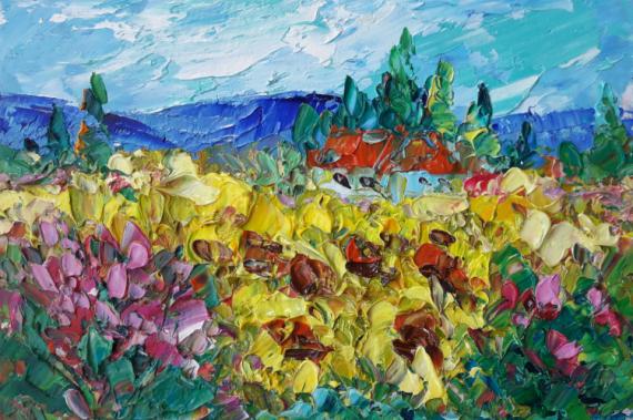 TABLEAU PEINTURE Abstrait Fleurs Painting Flowers Artmodern Paysages Peinture a l'huile  - Sunflower field