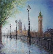 tableau architecture london pluie moderne ville : painting *London*vendue