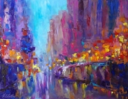 tableau architecture abstraction abstrait : painting * Night Rendezvous*Oil on canvas 90x70 cm
