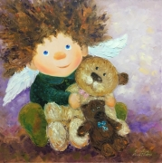 tableau animaux angel enfants : painting * Give the warmth and smiles *  Vendu