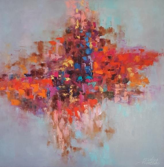 TABLEAU PEINTURE abstrait Abstrait Peinture a l'huile  - painting *Planet brightest of desires*oil on canvas  Vendu