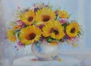 tableau fleurs abstraction fleurs sunflowers : painting *Sunflowers* oil on canvas 80x60cm  Vendu