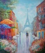 tableau abstraction abstrait paris : painting *week-end à Paris* oil on canvas 60x70 cm