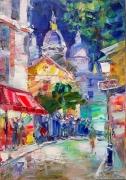 tableau evening montmartre architecture and cit abstract paris : Evening Montmartre
