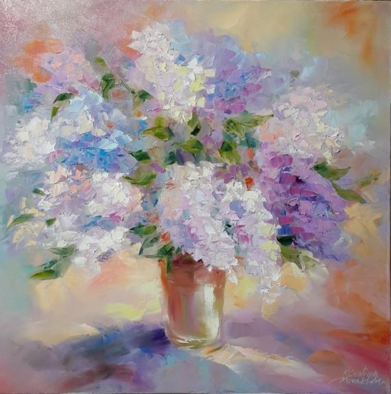 TABLEAU PEINTURE abstraction fleurs lilas Fleurs Peinture a l'huile  - peinture * Des arômes  de dentelle lilas *  Vendu