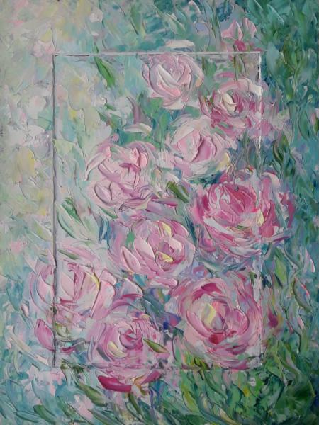TABLEAU PEINTURE Roses délicates fleu Fleurs Peinture a l'huile  - Roses délicates