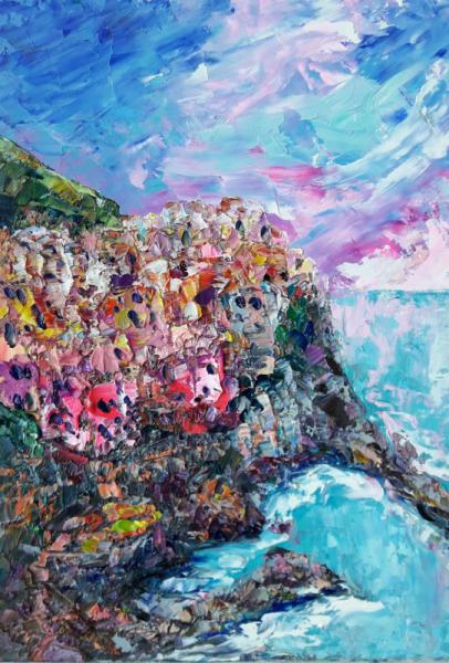 TABLEAU PEINTURE Manarola artwork Italy art Abstrait Manarola Artmodern Marine Peinture a l'huile  - Manarola. Pearl Italy.