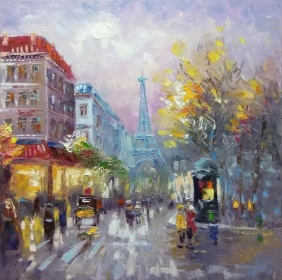 TABLEAU PEINTURE architecture Paris Architecture Peinture a l'huile  - painting * Paris*oil on canvas 50x50 cm  Vendu