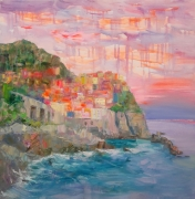 tableau architecture evening manarola ita landscapes sea and abstract homa decor : painting *Evening Manarola. Italy* Livraison gratuite