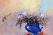 tableau fleurs abstraction fleurs roses interieur de peintur : painting *Rose blues* Oil on canvas 90x60cm Vendu