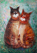 tableau animaux art : Cats in love