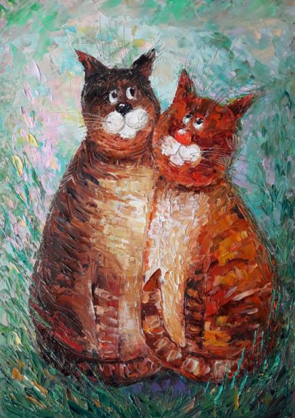TABLEAU PEINTURE art Tableaux Animaux Peinture a l'huile  - Cats in love