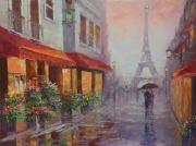 tableau architecture paris abstrait : painting *Weekend in Paris*oil on canvas 80x60cm  Vendu
