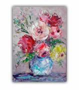 tableau fleurs fleurs rose fleurs art floral fleurs art fleurs : *Bright roses in a vase*