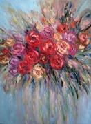 tableau fleurs bright rose fleurs moderne abstraction : painting *Bright rose*vendue
