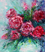 tableau fleurs rose fleurs art : *Bright roses in a vase*