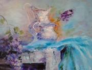 tableau fleurs abstraction fleurs : peinture*Parfum de l'amour * Huile sur toile 80x60 cm