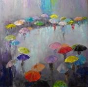 tableau abstrait pluie parapluies abstraction parasols : Peinture *à une réunion les uns des autres *
