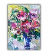 tableau fleurs painting flower floral rose rose art peonies artwork : painting Lovely bouquet of bright flowers