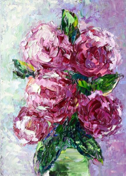 TABLEAU PEINTURE Fleurs Abstrait fleurs Rose art Fleurs Peinture a l'huile  - Roses délicates