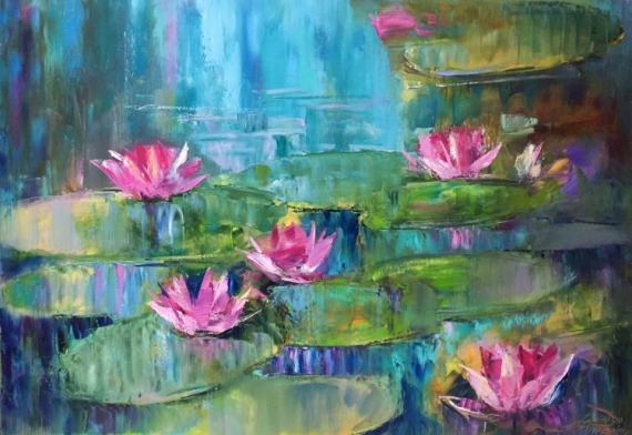 TABLEAU PEINTURE abstraction abstrait Water-lilies lilies Paysages Peinture a l'huile  - *Water-lilies.Sounds of nature*Oil on canvas 100x70 cm