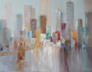 tableau architecture ville architecture abstraction interieur de peintur : painting *Skyscrapers*oil on canvas 90x70 cm  Vendu