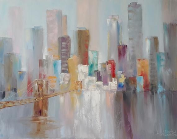 TABLEAU PEINTURE ville architecture abstraction Intérieur de peintur Architecture Peinture a l'huile  - painting *Skyscrapers*oil on canvas 90x70 cm  Vendu