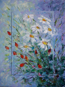 tableau fleurs rose roses delicates abstract homedecor : Painting Chamomile