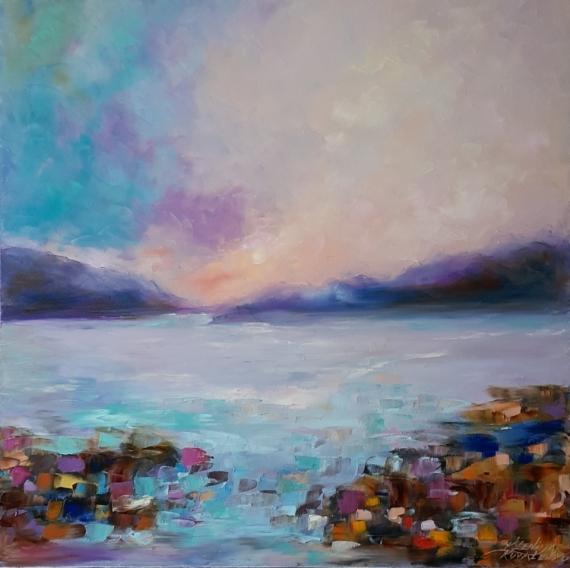 TABLEAU PEINTURE abstraction abstrait Marine Peinture a l'huile  - painting *Harmony*Oil on canvas 80x80 cm Vendu