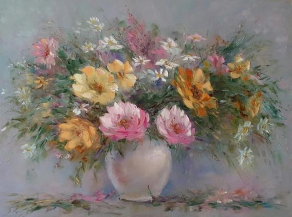 TABLEAU PEINTURE abstraction Peinture a l'huile  - *Pour moi cueillir un bouquet de champ de fleurs * Vendu