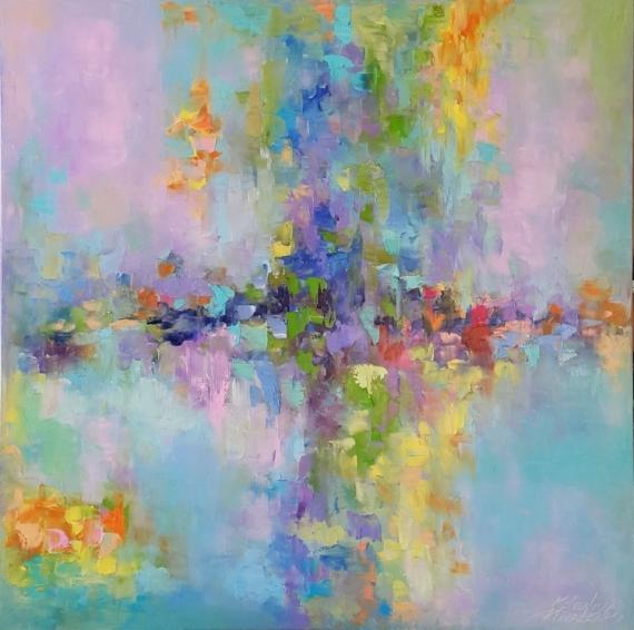 TABLEAU PEINTURE abstraction abstrait Abstrait Peinture a l'huile  - painting *Emerald Lagoon*Oil on canvas 80x80 cm  Vendu