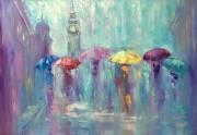 tableau architecture abstraction abstrait : *Romantic rain*oil on canvas 100x70cm