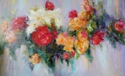 tableau fleurs abstraction interieur de peintur fleurs abstrait : painting *waltz of the Flowers* Oil on canvas 130x80 cm  Vendu
