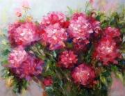 tableau fleurs abstraction pivoines fleurs : Peinture * Peonies * Huile sur toile 90x70 cm