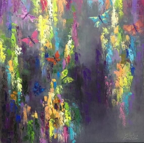 PAINTING abstrait butterfly papillon de papillon Peinture a l'huile  - painting *Time to make a wish*oil on canvas 80x80cm