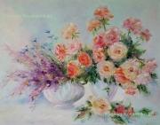 tableau fleurs abstraction interieur de peintur fleurs roses : painting *Roses*oil on canvas 90x70 cm