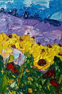Lavander Original Art Sunflower painting flowers