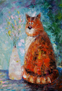 tableau animaux cat painting cat abstract tableau abstrait : Painting Cute Cat