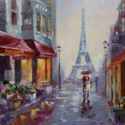 tableau architecture architecture paris : painting *Weekend in Paris*oil on canvas 50x50cm  Vendu